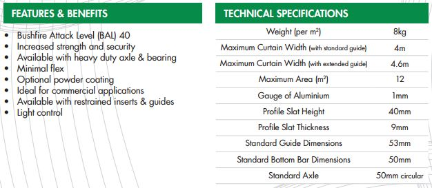 technical specifications roller shutters